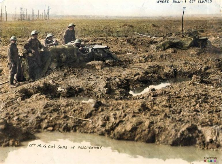 The Australian 12th M.G. Company, 45th Battalion, 12th Brigade, 4th Division, near Anzac Ridge at Polygon Wood in the Ypres Sector, where very heavy casualties were sustained. Photo taken on the 28th of September, 1917.