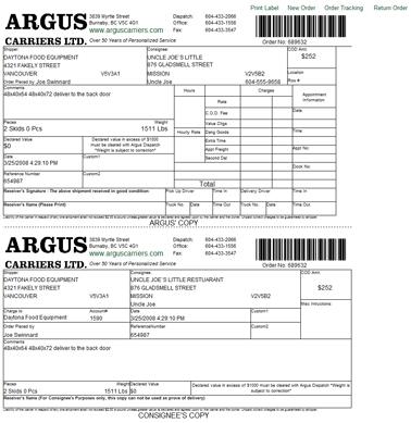 Argus Online Guide Waybill