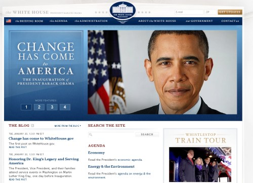 WhiteHouse.gov page that shows that Barack Obama has taken office