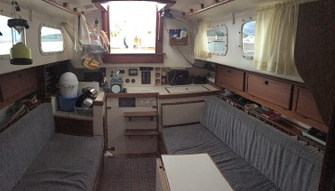 Interior aftward view of saloon and galley.