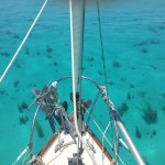 Even when underway, the amazing clear waters of the Exumas give us a window into the world beneath us. If not going too fast, we can even tow along behind to catch the show.