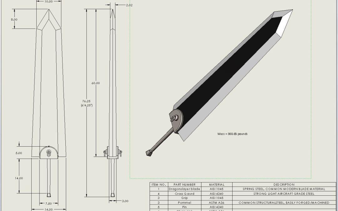 La Dragonslayer de Berserk: Una espada forjada con Whisky y material de construcción