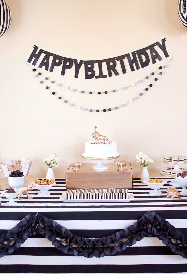 Party   black, white, + gold birthday party Armelle Blog