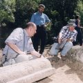 Michael Stone, Bishop Abraham and archaeologist David Amit on site