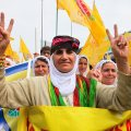 Kurdish women demonstrating (photo by Mujgan Arpat)