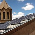 A 2 kW photovoltaic station assembled and laminated by specialists at the State Engineering University of Armenia was installed on the roof of St. Sarkis Church in Yerevan (Photo source: EU-Armenia Web Portal on Renewable Energy)