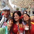 Armenian Weekly contributor Dina Apovian (L) at Euro 2012 in Poland.