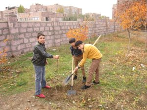 ATP's CTP program planted another 28,383 trees at 75 sites throughout Armenia and Artsakh this fall. Students are pictured here planting trees at Yerevan School No. 190 on Nov. 14.