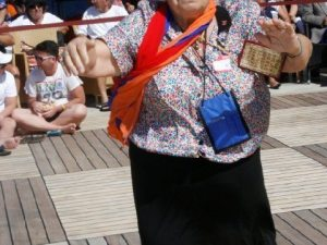 Dirouhi Kupelian of Fresno, Calif., dances to the crowd aboard the ACAA Heritage Cruise