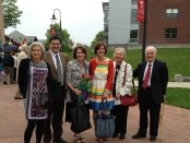 Clark University commencement speaker Carolyn Mugar (third from left) with Farm Aid staff Glenda Yoder and Jennifer Fahey, ATP director Jason Sohigian, and Robert Aram and Marianne Kaloosdian.
