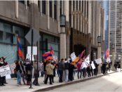 AYF-led protestors demonstrating in front of the Turkish Consulate at the NBC Tower in Chicago