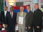 Haroutune Misserlian receives proclamation.