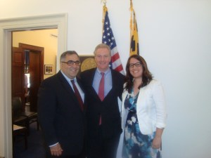 L to R: Aram Hamparian, Rep. Chris Van Hollen (D-MD-8), and Michelle Hagopian.