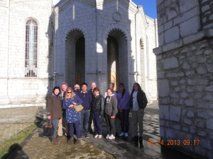 The group in front of Ghazanchetsots Cathedral
