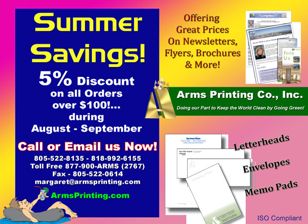 Printing Discount Summer Savings Specials from Arms Printers, \u0027The
