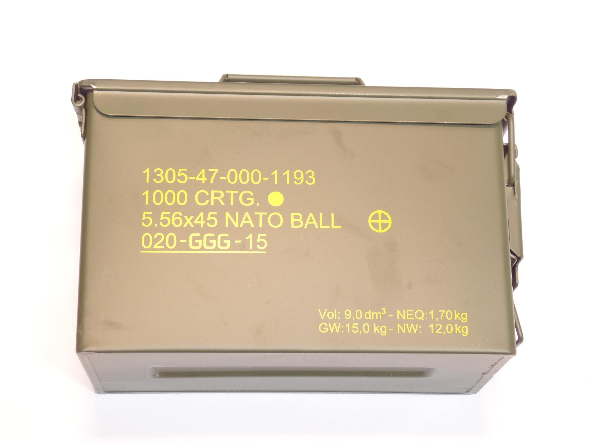 Munitions x50 calibre 5.56x45 (.223Remington)