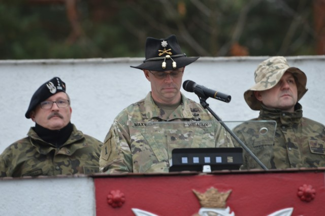 US and Polish Cavalry troops participate in Patch Ceremony Article