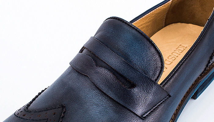 Wingtip Penny Loafers - Blue - Leather Shoes for Men - Árni  Hill