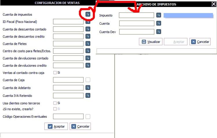 Hacer click en la opción indicada y colocar las cuentas contables de cada impuesto.