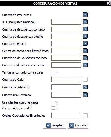 Indicar las cuentas contables que correspondan con las opciones indicadas.