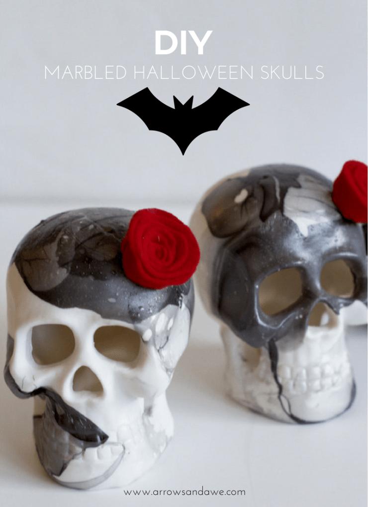 DIY Marbled Halloween Skulls