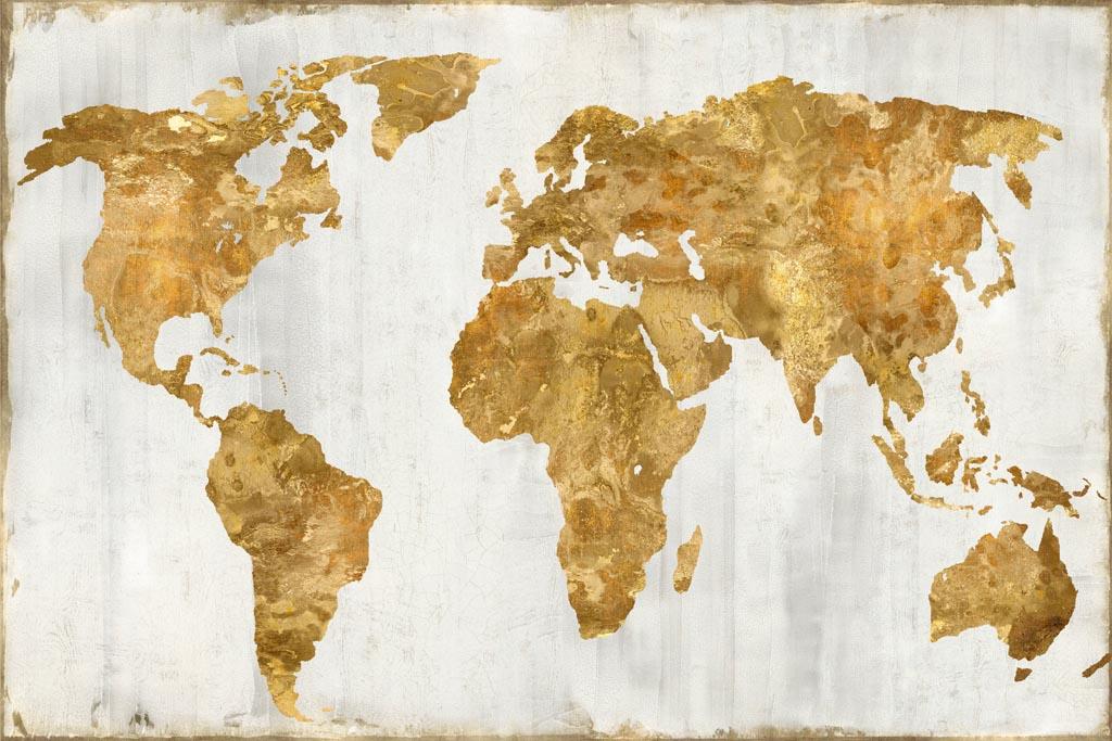 Russell Brennan -The World In Gold - ART+PLUS vendita stampe su tela - cartina mondo
