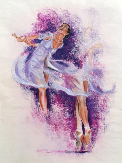 Girl With Wallpaper Dress Ballerina Pastellbilder Von Ernst Georg Stief