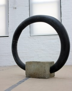 Jeff Feld; A failure of the day to day (Front view); 2014; Inner tube, concrete