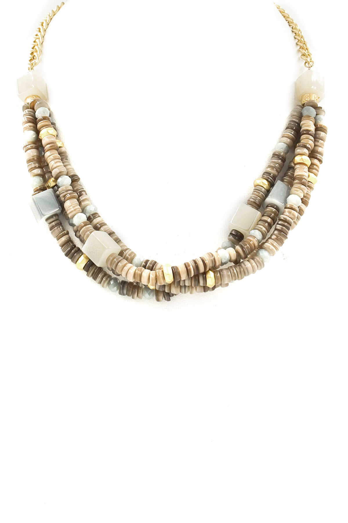 Woven Glass Bead Shell Necklace Necklaces