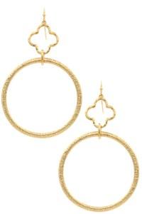 Metal Hoop Quatrefoil Drop Earrings