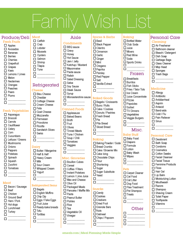 Shopping list printable