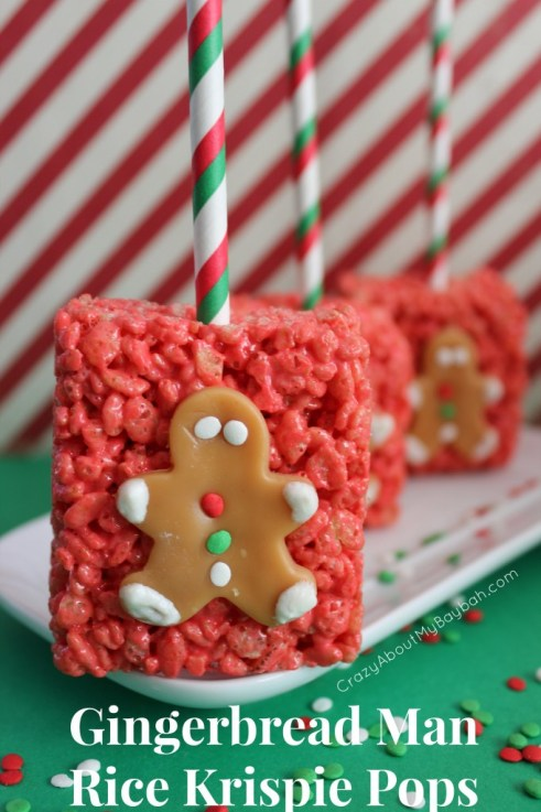 Gingerbread man rice krispie pops