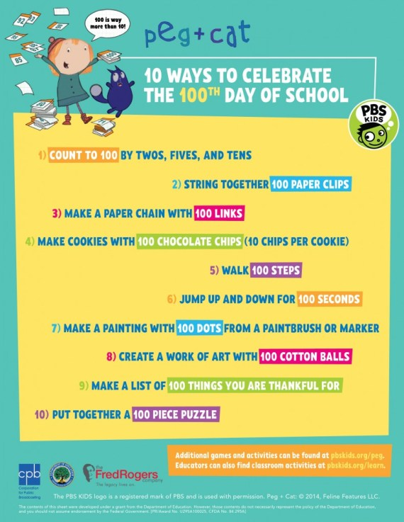 Top 10 Ways to Celebrate the 100th Day of School #PBS #PBSKids
