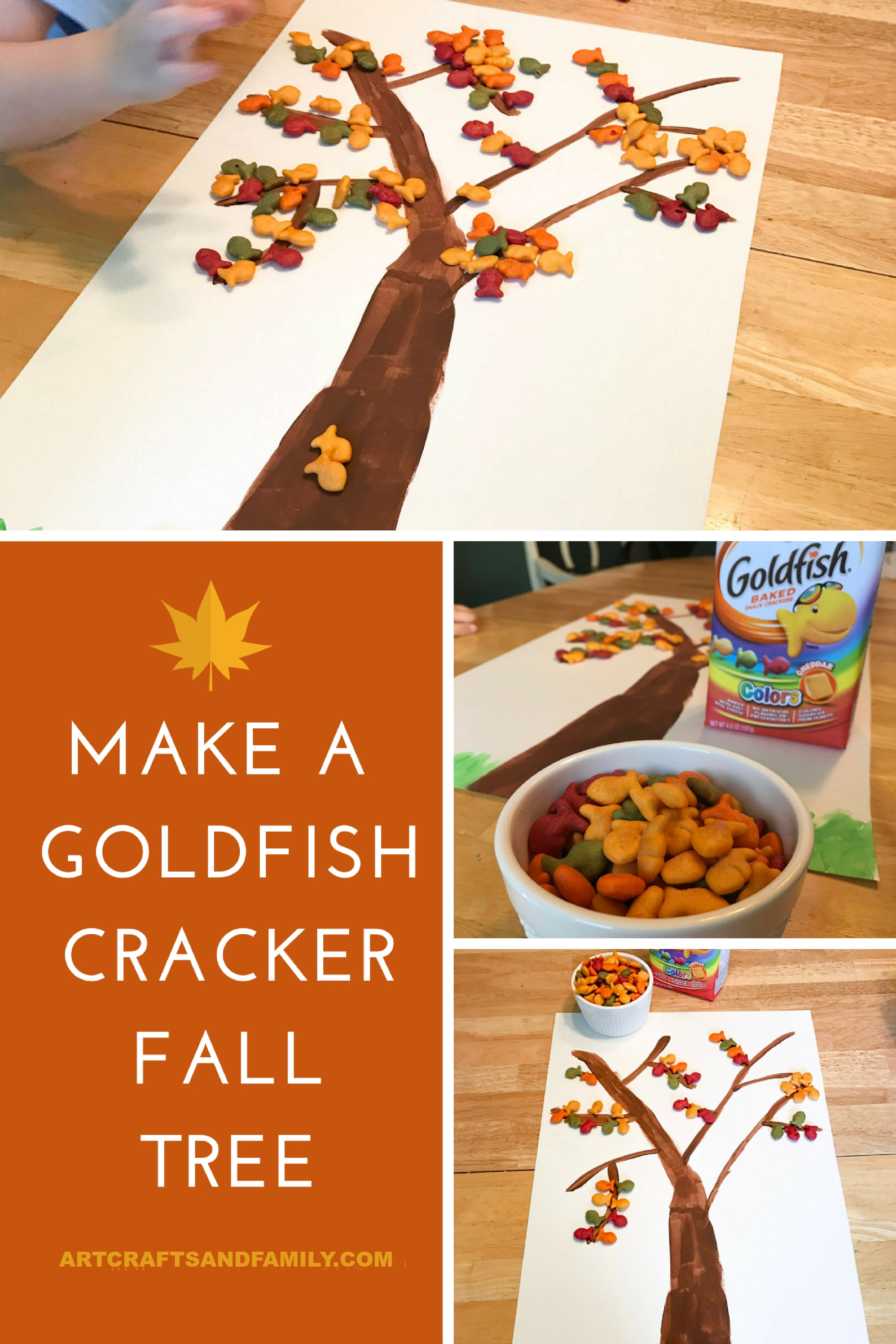 Fun Fall Craft for Kids made out of Goldfish Crackers!