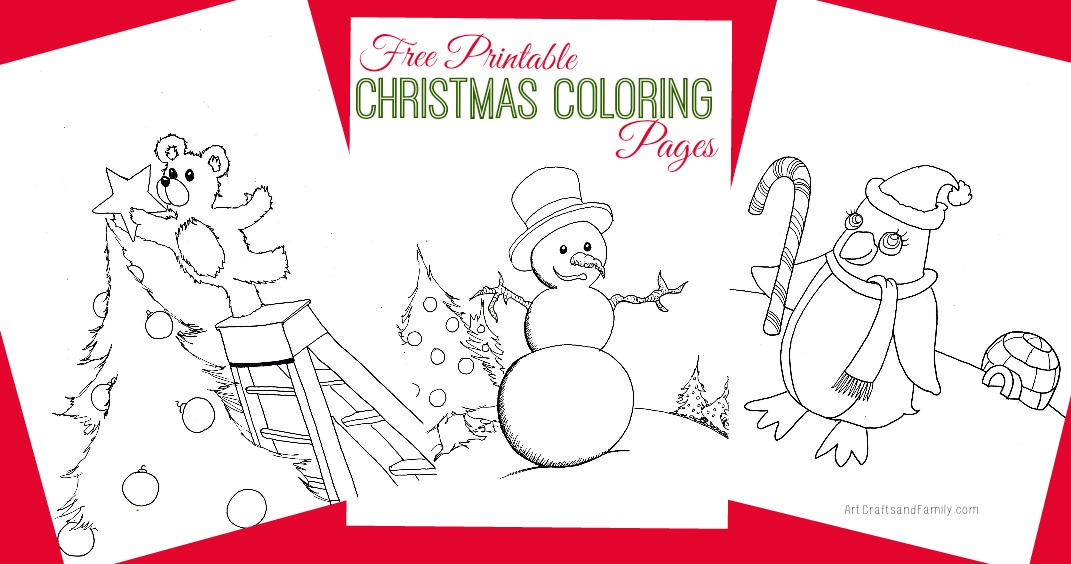 Print out these adorable and free printable Christmas coloring pages!