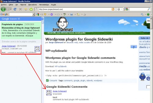 Plugin WP-oySidewiki Google Sidewiki comments integration with WordPress
