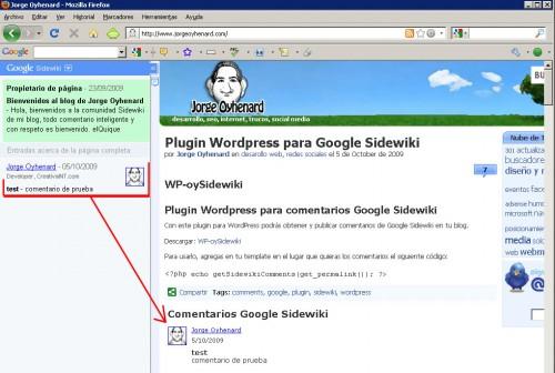 WP-oySidewiki integrar comentarios Sidewiki en nuestro blog