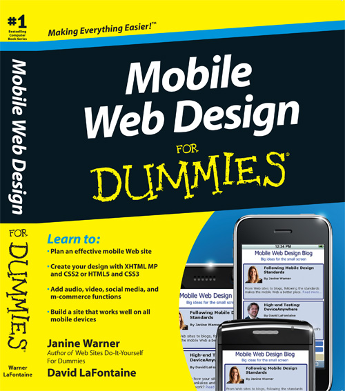 Cover of Mobile Web Design for Dummies book by Janine Warner and Dave LaFontaine