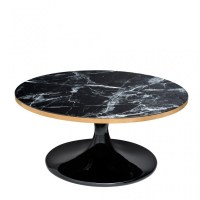 Beautiful black round coffee table design with its black ...