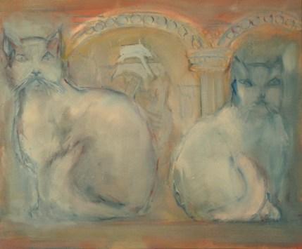 H26 - Chats au bas-relief (46x55cm)