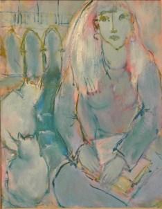 Vénitienne aux chats blancs Huile sur toile 73 x 60 cm
