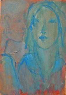 Le col bleu Huile sur toile 35 x 24 cm