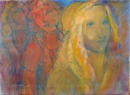 Défilé à la Botticelli Huile sur toile 45 ,5 x 33 cm