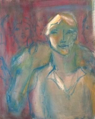Jeune cavalier souriant Huile sur toile l46 x H55 cm