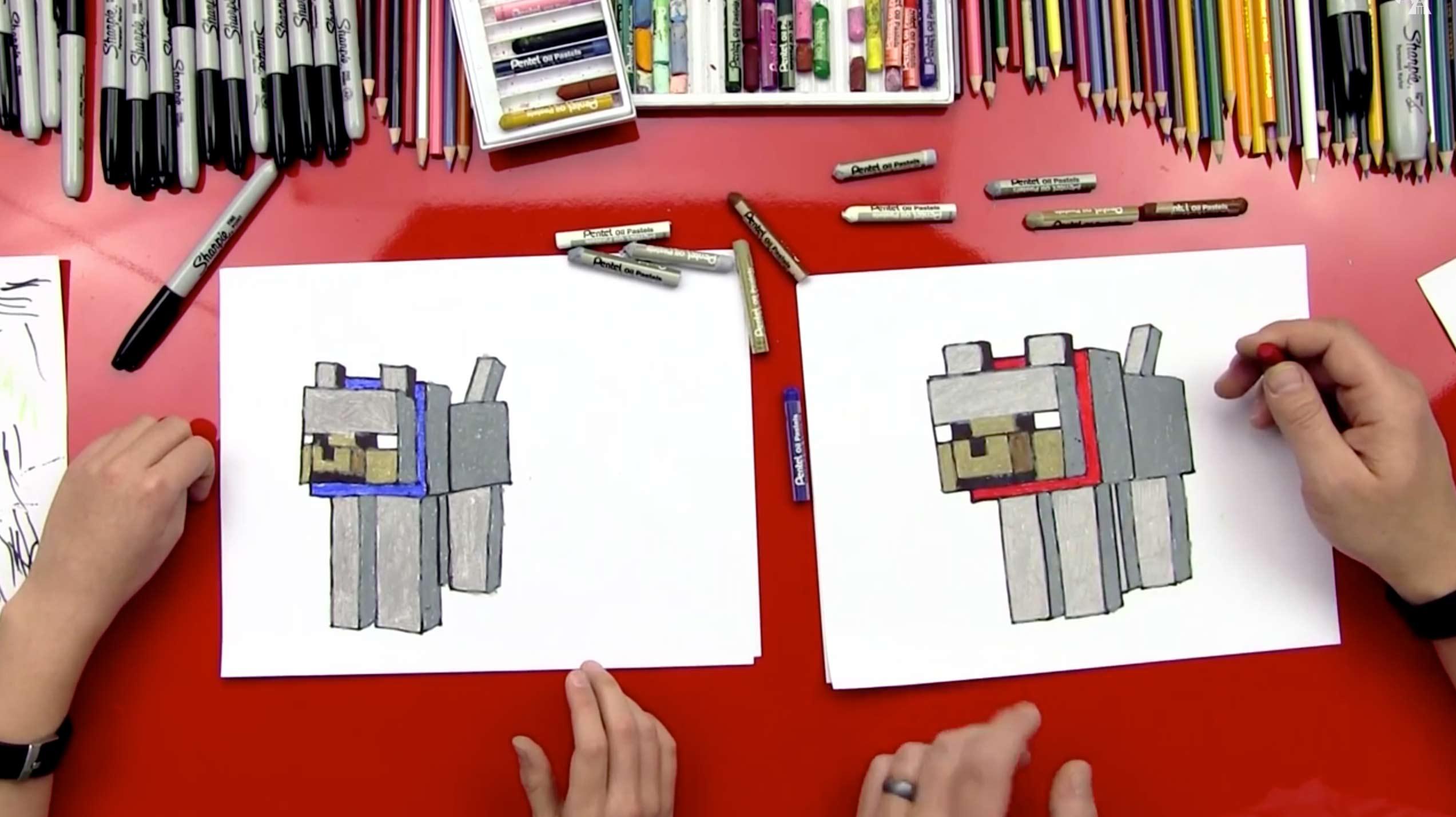 Cute Pug Wallpaper Cartoon How To Draw A Minecraft Wolf Dog Art For Kids Hub
