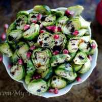 Roasted Brussels Sprouts {balsamic pomegranate glaze}