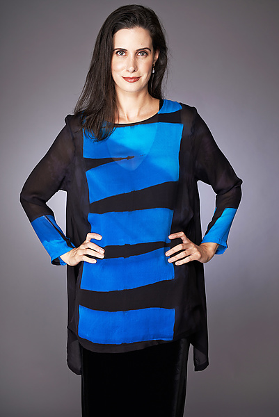 Plank Swallowtail Tunic in Turquoise and Cobalt by Michael Kane