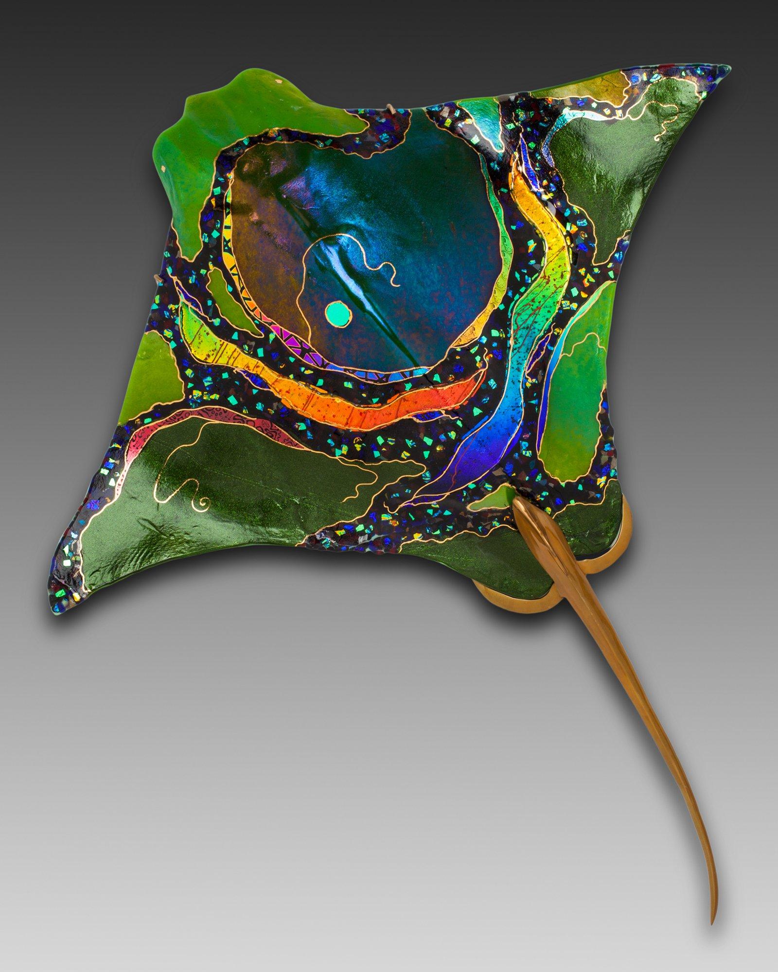 Lifelike 3d Wallpaper Eagle Ray By Karen Ehart Art Glass Wall Sculpture