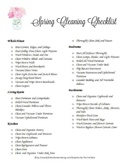 My Spring Cleaning Plan + Free Printable Checklist! - Artful - spring cleaning checklist