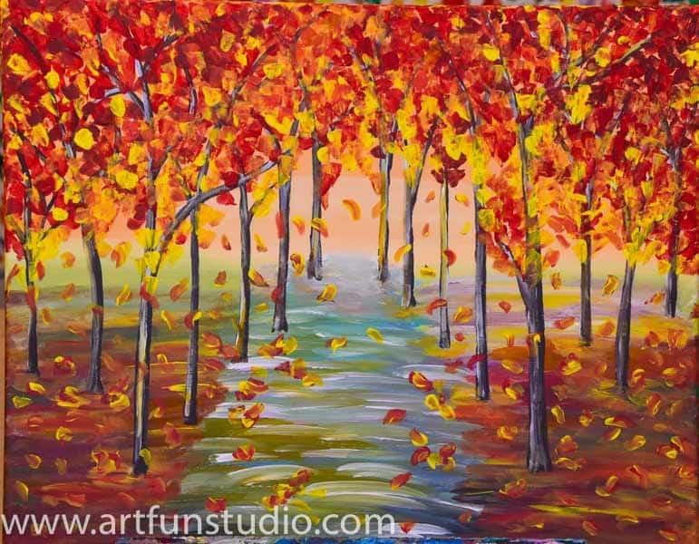 Fall Brithday Wallpaper Sip And Paint Catalog Art Fun Studio